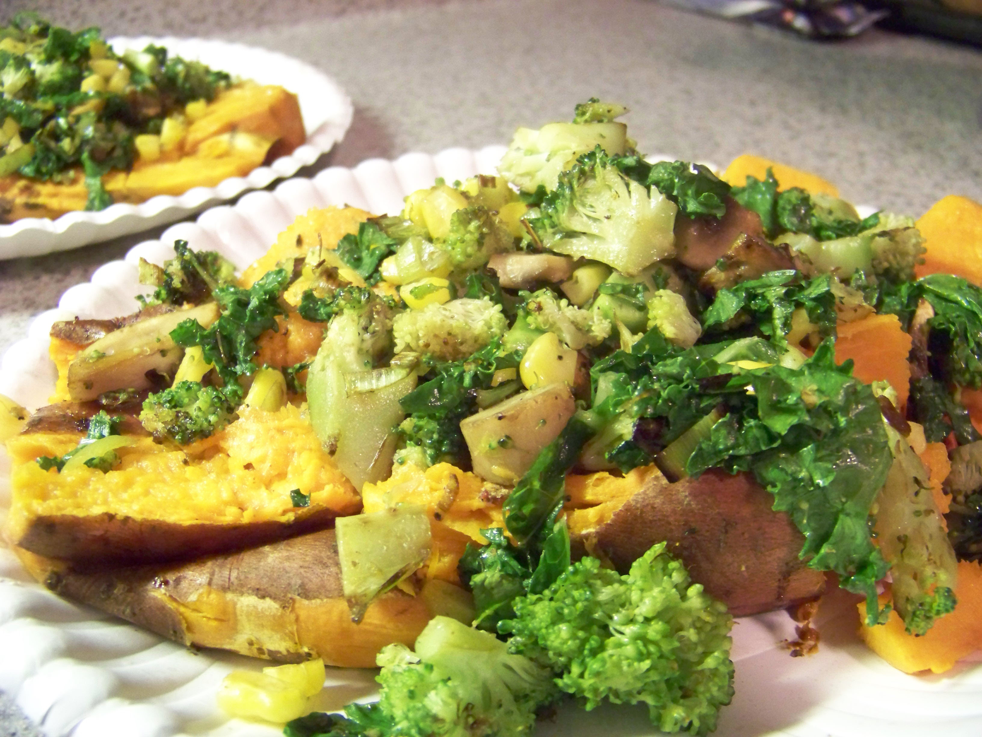 Vegetable Loaded Baked Sweet Potatoes – Healthy For Two
