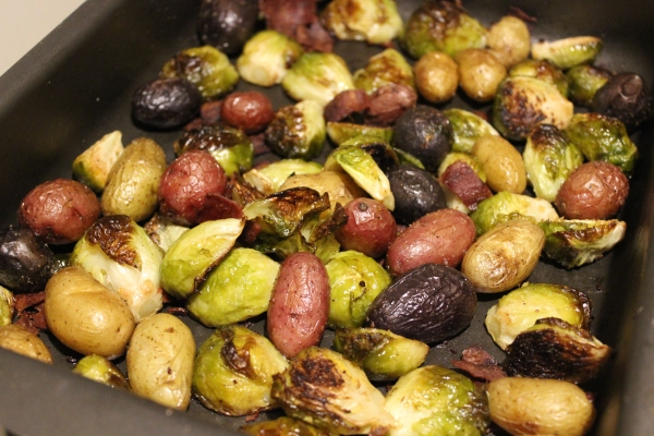 Roasted Sprouts and Potatoes With Turkey Bacon